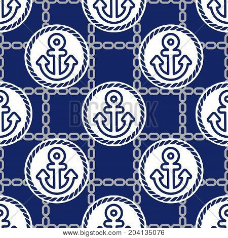 Seamless pattern anchors with chains. Ongoing backgrounds of marine theme. Vector illustration
