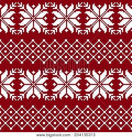 Seamless fabric. The occasion. Merry Christmas and happy New year. Pixels. White and red color. Background gift wrapping design. pattern ornament Stock vector