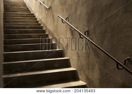 Brown Vintage Stone Stairs With Handrail