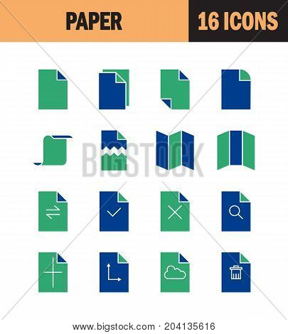 Paper icon set. Collection of document silhouette icons. 16 high quality logo of printing on white background. Pack of symbols for design website, mobile app, printed material, etc.