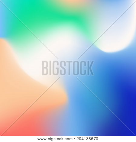 Blurred gradient with colorful green, blue and orange waves for mobile screen