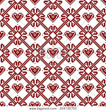 Seamless fabric.Merry Christmas and happy New year. The occasion. Pixels. White and red color. Background gift wrapping design pattern ornament background website Ornament Stock vector