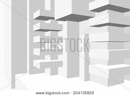 Architecture background with abstract cubes composition and minimalistic style