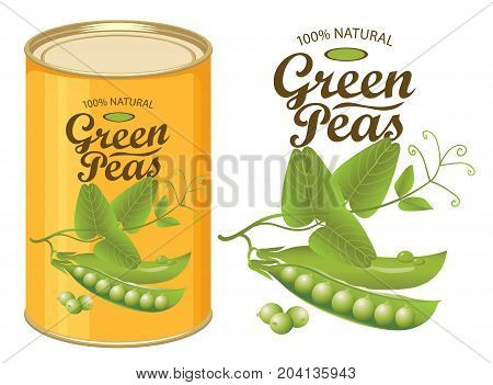 Vector illustration of tin can with a label for canned green peas with the realistic image of pea pods tendrils and leaves and calligraphic inscription