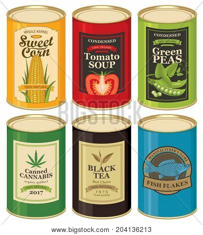 Set of vector illustrations of a tin cans with labels of sweet corn tomato soup green peas canned cannabis black tea and fish flakes