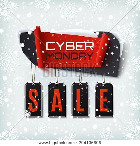 Cyber Monday Sale, abstract banner on winter background with snow and snowflakes. Design template for brochure, poster or flyer. Vector illustration.