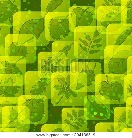 Seamless Background with Pictogram Leaves, Green Square Nature Icons of Various Plants, Trees and Shrubs, Tile Nature Pattern for Your Design. Eps10, Contains Transparencies. Vector
