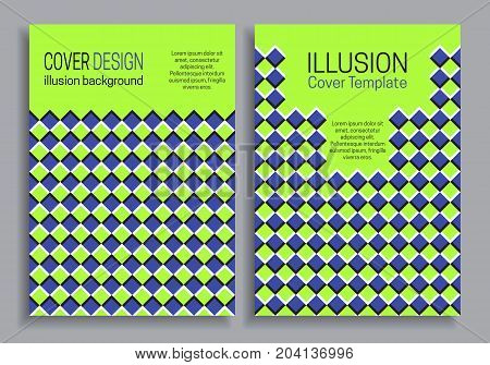Blue green book cover templates with optical motion illusion design.