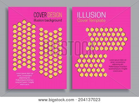 Pink yellow brochure cover templates with optical motion illusion design.
