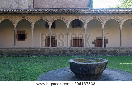 Cloister Of The Monastery Of Sant Joan De Les Abadesses, Ripolles, Girona Province ,catalonia, Spain