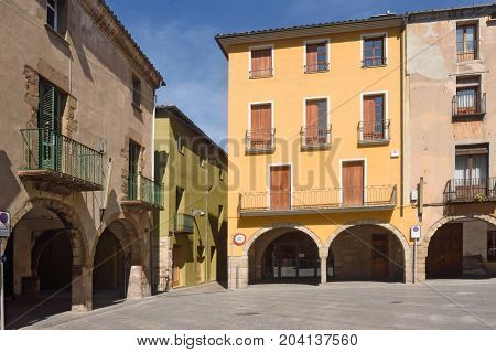 Main Square Of  Sant Joan De Les Abadesses, Ripolles, Girona Province, Catalonia,spain