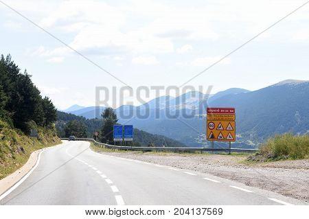 Mountain Road La Collada De Tosses In Ripolles, Girona Province, Catalonia,spain