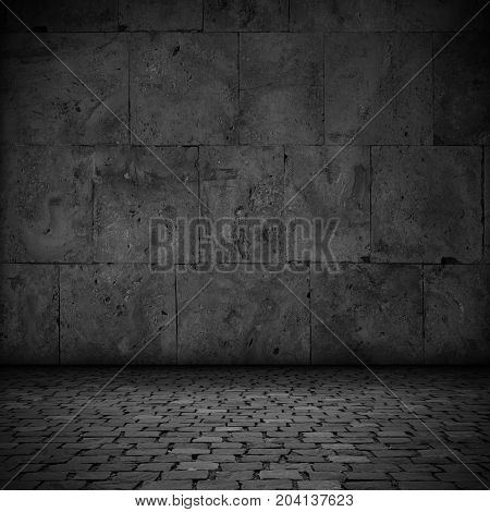 abstract black background or stone plate and pavement texture stage