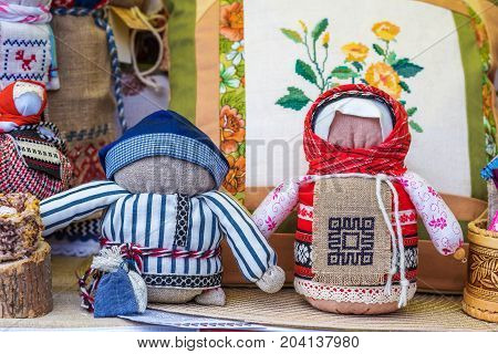 Ragged soft handmade dolls made according to folk tradition
