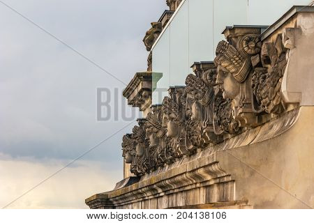 Face Of Statue At Berlin Reichstag (bundestag), Berlin, Germany