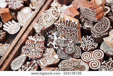 Wooden Stamps. Goods Of Outdoor Market