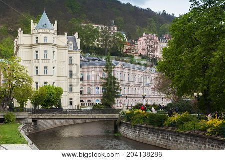 Street View Of Old Karlovy Vary Town