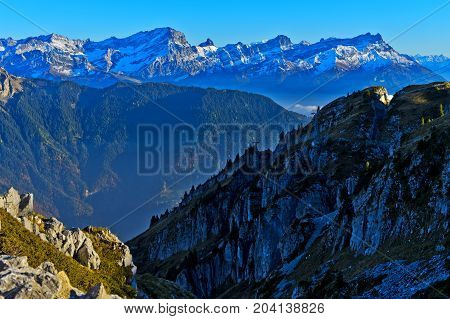 Grand Muveran massif and the Dents des Morcles peaks Alpes Vaudoises Leysin Vaud Switzerland