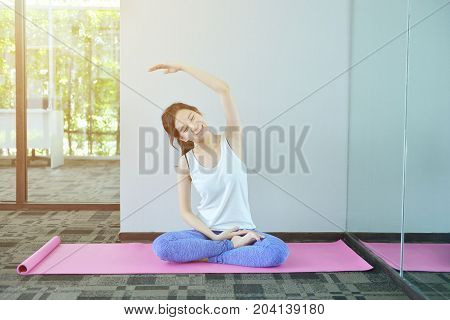 Young Asian Woman Meditating In Yoga Room, Yoga Concept