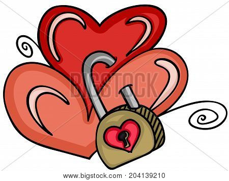 Scalable vectorial image representing a two hearts locked with padlock, isolated on white.
