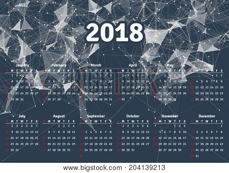 Calendar 2018 horizontal A4 format starts Sunday