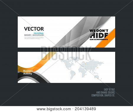 Abstract vector set of modern horizontal website banners with many yellow rectangles, abstract lines for construction, teamwork, tech, communication. Clean web headers design with overlay effect.