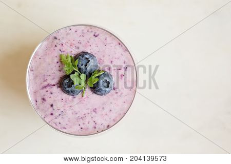 Close-up view of chia blueberries pudding view from above