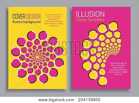 Yellow pink brochure cover templates with optical motion illusion design.