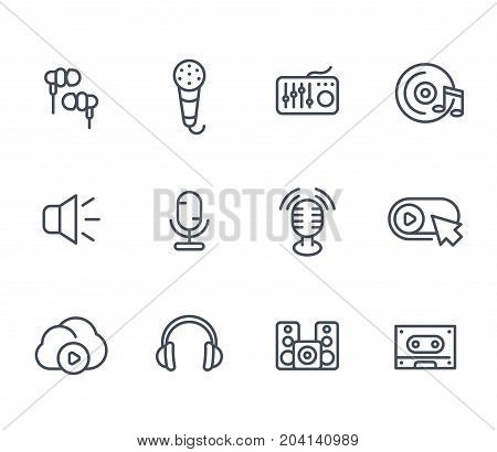 audio line icons, sound mixing, microphones, recording, earbuds, headphones, speakers, cassette tape pictograms on white