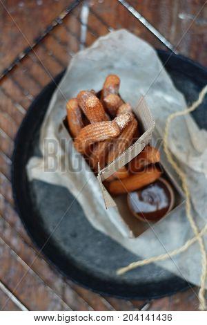 Crisp Spanish churros deep-fried for street food