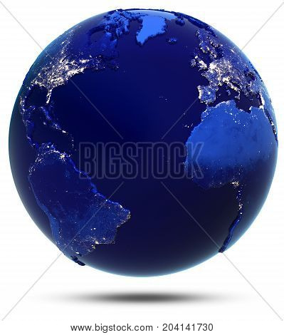 Atlantic continent and countries. Elements of this image furnished by NASA 3d rendering