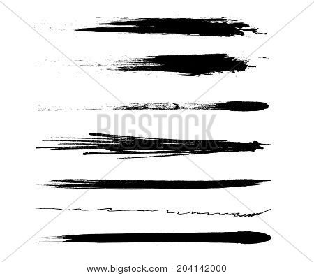 Hand drawing brush stroke. Set of black paint, ink brushes, lines. Different brush strokes. Vector black mascara brush trace strokes. Collection of artistic grungy black paint