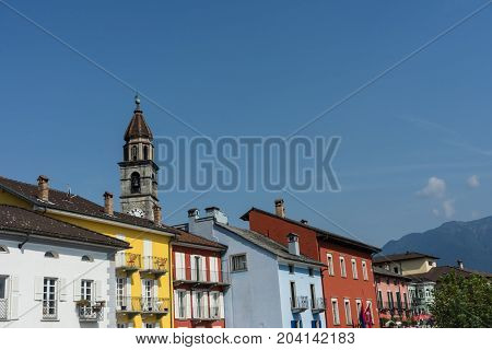 Ascona historic mediterranean city view at the Lake Maggiore in district of Locarno in the canton of Ticino in Switzerland on a sunny day