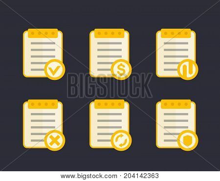 documents icons, flat style, eps 10 file, easy to edit