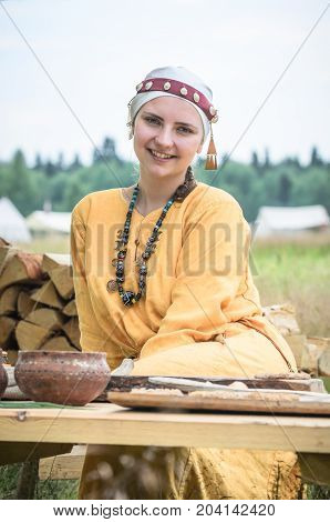 Moscow,russia-june 06,2016: Beautiful Young Peasant Woman Posing In Romanian Traditional Costume