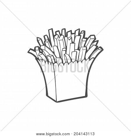 Vector sketch potato fry, french fries on striped white paper box. Hand drawn cartoon isolated illustration on a white background. Tasty fast food