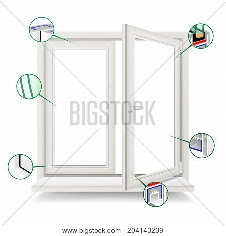 Plastic Window Vector. Window Frame Structure. Open Plastic Glass Window. Isolated