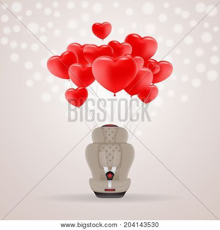 Beige Child Car Seat With Red Baloons In Shape Of Heart Isolated On A Background. Vector Illustration. Products For Children