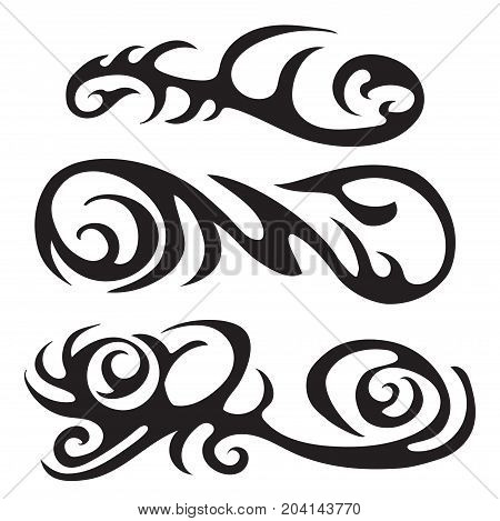 Maori tribal tattoo, Set of different vector tribal tattoo in polynesian style