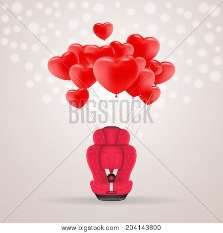 Red Child Car Seat With Red Baloons In Shape Of Heart Isolated On A Background. Vector Illustration. Products For Children