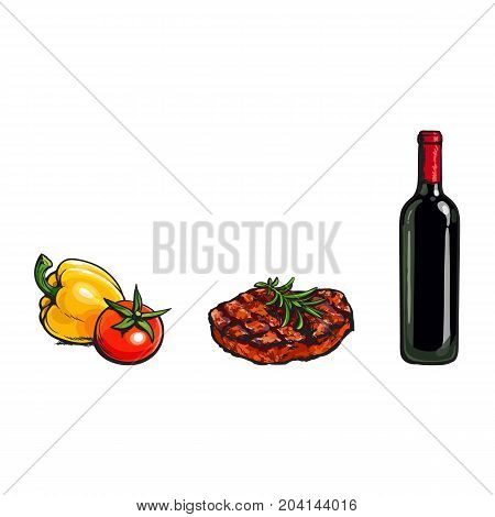 Perfect dinner components - beef steak, vegetables and red wine bottle, sketch vector illustration on white background. Realistic hand drawing of grilled, roaster beef steak, vegetables and red wine