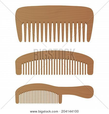 Comb , Barber Comb, Hair Accessories, Wooden Comb Isolated On A White Background. Vector Illustration. Hair Products