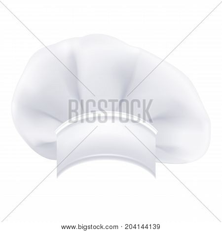 Photorealistic Modern White Chef Hat Isolated On A White Background. Vector Illustration. Cooking Symbol