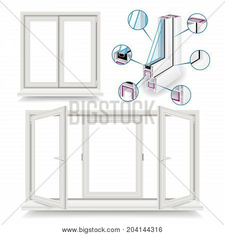 Plastic Window Vector. Structure Frame, Corner Window. Isolated On White Background Illustration