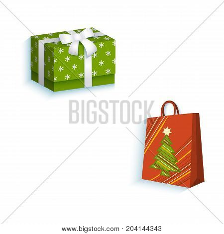 vector flat present gift glossy paper shopping bag with christmas tree image, square box present with white ribbon and bow. Isolated illustration on a white background. Winter sybols concept