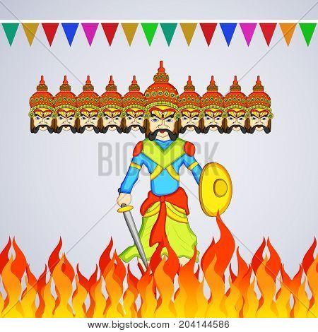 illustration of evil Ravan and decoration on the occasion of hindu festival Dussehra