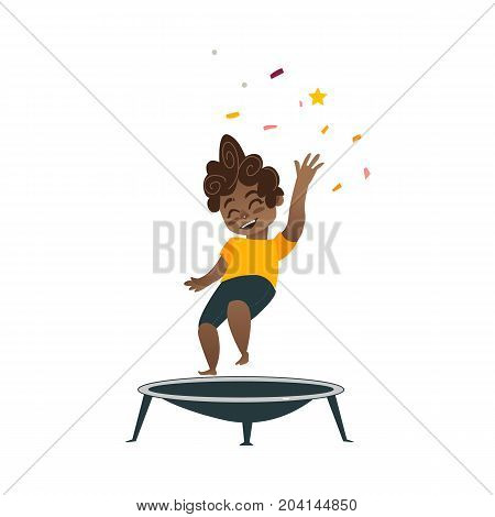 vector flat cartoon black boy kid in dark shorts, orange t-shirt and party hat jumping on trampoline happily smiling. Isolated illustration on a white background. Kids party concept