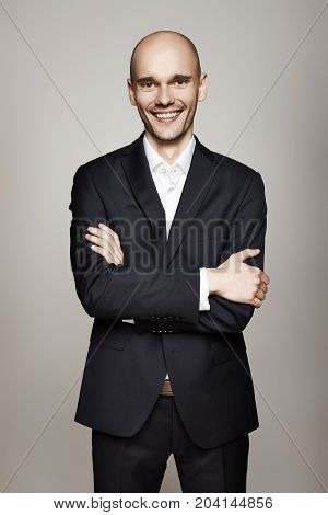 Cheerful Man In Black Suit