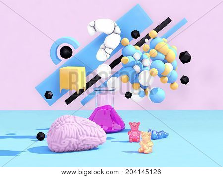 Brain storming. Creative factory concept. 3D illustration