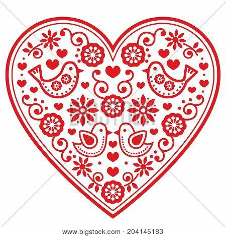 Folk heart vector pattern with flowers and birds - Valentine's Day, wedding, birthday greeting card